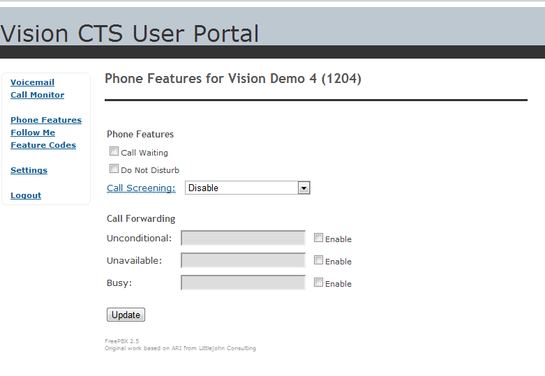 Vision CTS Portal Phone Features | Vision Concept Technology